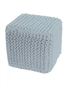 Duck Egg Blue Knitted Cotton Cube Footstool 35 x 35 x 35 cm Duck Egg Blue, Pastel Blue, Outdoor Furniture, Outdoor Decor, Cube, Ottoman, Color, Home Decor, Breien