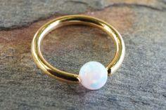 16 Gauge Gold CBR Hoop with White Opal Cartilage Hoop Tragus Helix Rook
