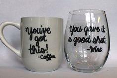 Coffee Mug and Wine Glass Combo Customizable by WinebytheGlass