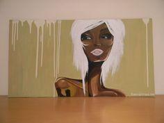 White haired woman - acrilico su cartone