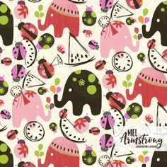 Elephants, melon & lady bugs.  Surface Pattern Design by Mel Armstrong