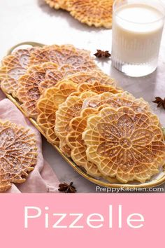 Thin, light and crispy Pizzelle cookies flavored with anise and vanilla then dusted with powdered sugar. These traditional Italian cookies are so easy to make and with their pretty patterns and long shelf life they make perfect gifts for the holidays! Pizzelle Cookies, Stained Glass Cookies, Cookie Flavors, Peppermint Cookies, Long Shelf, Italian Cookies, Shelf Life, Pretty Patterns, Biscuit Recipe