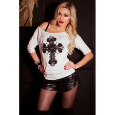 "#White #tunic with #black #handmade #lace and #Swarovski #victorian #cross made by #ojfashion. #applique #fashion #style ТУНИКА ""АРИСТОКРАТКА"""
