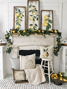 Spring Floral and Greenery Home Decor Ideas. Awesome Summer Decor Ideas With Rustic Farmhouse Style To Try Asap Rustic Farmhouse, Farmhouse Style, Farmhouse Fireplace, Fireplace Mantel, Lemon Painting, Summer Mantel, Lemon Kitchen Decor, Home Decoracion, French Country Decorating