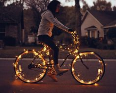 """in a nutshell..."""" // A bicycle for the festive season. All lit up ..."""