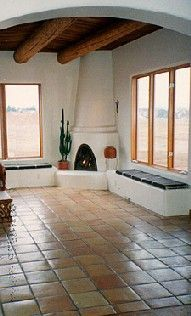 Southwest-Style Pueblo Desert Adobe Home Southwestern Home, Southwest Decor, Southwest Style, Adobe Fireplace, Fireplace Design, Adobe Haus, Santa Fe Home, Hacienda Style, Earth Homes