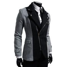 Men's Unbalance 2-Tone Zipper Blazer – Tattee Boy Clothes