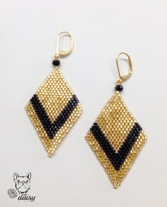 Brick stitch earrings black and gold earrings-black and