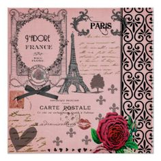 InspirationzStore Vintage Art - Stylish Vintage Pink Paris Collage Art - Eiffel Tower - Red Rose - Girly Gothic Black Bow and swirls - Light Switch Covers - double toggle switch Pink Paris, I Love Paris, Paris Style, Vintage Paris, Vintage Pink, Paris Poster, Gothic, Kunst Poster, Girly