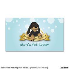 Handsome Mix Dog Blue Pet Sitting Service Business Card