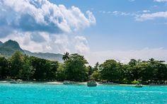 Scarica sfondi Mahe, Seychelles, Oceano Indiano, isola tropicale, spiaggia, palme, paradiso