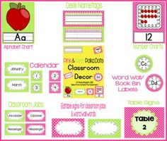 Classroom Decor- Pink and Lime Polka Dots: Alphabet and Number Charts, Name Plates, Word Wall headers, Book Bin Labels, Classroom Jobs, Table Signs, Calendar Cards, and editable labels and binder covers