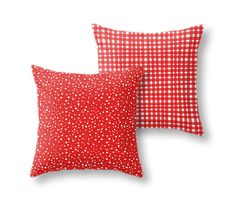 Christmas Red & White Polka Dots Gingham 2pc Pillow by PrtSkin, $52.00
