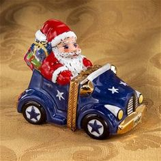 Limoges Santa in Blue Car Box - Limoges Boxes , Limoges Christmas Boxes Christmas Boxes, Christmas Art, Christmas Decorations, Car Box, Pill Boxes, Tiny Treasures, Treasure Boxes, Little Boxes, Red White Blue