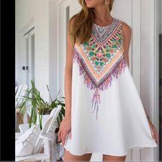 ✨Sexy White Printed Boho mini Dress✨ ✨Sexy White Printed Boho mini Dress✨ GlamValut Dresses Mini