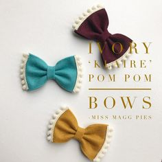 Ivory 'Klaire' · Pom Pom Felt Hair Bow / Mini Bows / Baby Headbands / Toddler H. Ivory 'Klaire' · Pom Pom Felt Hair Bow / Mini Bows / Baby Headbands / Toddler Hair Clips / New Felt Hair Bows, Fabric Hair Bows, Diy Hair Bows, Diy Bow, Felt Hair Clips, Ribbon Hair, Baby Girl Bows, Girls Bows, Felt Hair Accessories