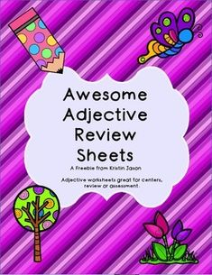 Free! Silly, smart, fun, beautiful, spectacular....adjectives make everything better! Use these worksheets to teach, review, or test adjectives. You can use this product as a center activity or a guided activity. No matter how you use them, the result is the same- your students will practice identifying adjectives, using adjectives to describe, and choosing an adjective to fit the context of a sentence.
