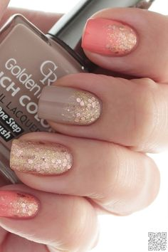 24. #Coral, Taupe and Gold #Glitter - 45 Flirty #Spring Nail Art Ideas for Nail #Polish Addicts ... → #Nails #Polka