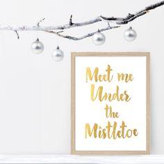 Under the mistletoe wall art print
