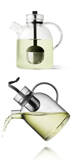 Menu teapot // clever retractable stainless steel filter to prevent over-brewing your tea #product_design