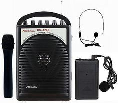 Portable PA System Built-in VHF Wireless Microphone 1 Channel Bodypack Car Cable