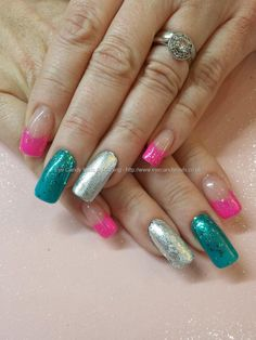 Blue and pink gel polish with glitter and silver leaf