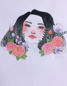 Drawing watercolor flowers
