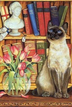 Cat and tulips and books