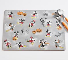 Disney Mickey Mouse Halloween Placemat | Pottery Barn Kids Halloween Tablecloth, Halloween Plates, Halloween Table Runners, Halloween Themes, Halloween Decorations, Halloween 2017, Mickey Mouse Halloween, Disney Mickey Mouse, Mickey Mouse Characters