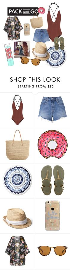 """""""Here we go! ☀️"""" by laurita-aller ❤ liked on Polyvore featuring Solid & Striped, T By Alexander Wang, Target, Round Towel Co., The Beach People, Havaianas, Gap, Agent 18, Oliver Peoples and Maybelline"""