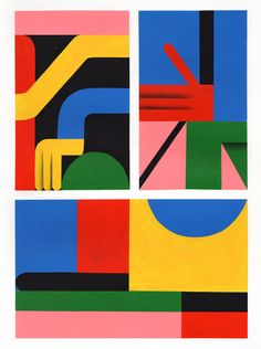 <p>We love the work of artist and illustrator duo from Berlin, Zebu. Lots of vivid colors, color blocking and geometric shapes for their happy characters painted on canvas or murals in the streets of