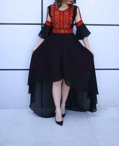 Breathtaking Palestinian Dress Special Style Short Front Open Stylish Sleeves Black and Red Embroidery Pakistani Fashion Casual, Pakistani Dresses Casual, Embroidery Fashion, Embroidery Dress, Afghani Clothes, Mode Abaya, Sleeves Designs For Dresses, Afghan Dresses, Kurti Designs Party Wear