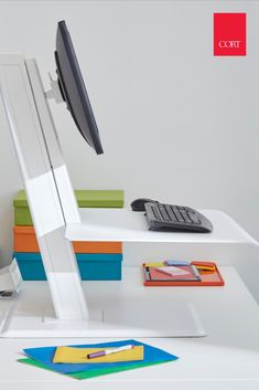 CORT rents a selection of sit to stand desks for your office or business. Rent the Quickstand and turn any table into a standing desk. Sit To Stand, Home Office Space, Desk Accessories, Office Fashion, Office Furniture, Diy Projects, Office Style, Storage, Coffee Tables