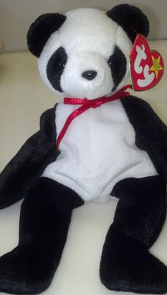 5fdb8d8e043 Fortune the Panda RARE Tag Errors Vintage Collectible Ty Beanie Baby  Girlfriend Christmas Gift Black   White Bear Birthday Party Gift