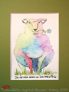"""No. 021 der wandklex-Unikatserie """"Ich war schon immer das Bunte Schaf der Familie"""" - nummerierte Einzelstücke! Ihr eigenes Schaf können Sie als Ihr Designerstück von wandklex® Ingrid Heuser, Ratzeburg, Germany bestellen:  im kleinen Klexshop bei DaWanda auf http://de.dawanda.com/shop/wandklex ©  Kunstatelier wandklex Ingrid Heuser, D-Ratzeburg Besuchen Sie mich auch auf facebook: https://www.facebook.com/wandklex"""
