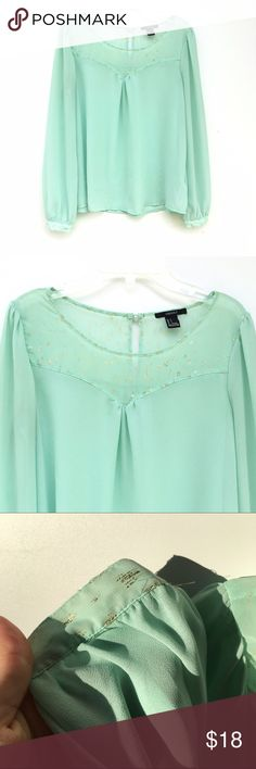 Light Blue Blouse Adorable light seamfoam blue/green blouse with gold, speckle like detailing on both the top, and bottom of sleeves. Tops Blouses