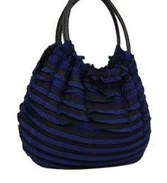 Navy Blue Fashion Fabric Handbag - Handbags, Bling & More!