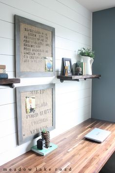 Adding character to a small home office - Industrial Pipe Shelves for the Office - Meadow Lake Road