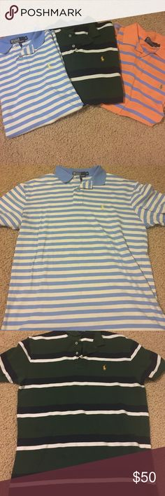 Ralph Lauren set of three Mrs polo shirts Ralph Lauren set of three men's polo shirts. Great condition!!! The blue/white stripe and green/white striped are like new. There is a small, but barely noticeable mark on the orange. Love these shirts! All size medium. Polo by Ralph Lauren Tops