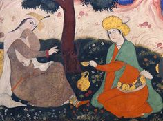 """Safavid Art, Isfahan, Iran     A woman being served wine. A wall painting from Chehel Sotoun pavilion in Isfahan, Iran, 17th century    Chehel Sotoun (""""Forty Columns"""") is a pavilion in the middle of a park at the far end of a long pool, in Isfahan, Iran, built by Shah Abbas II(1632-1666) of the Safavid Dynesti to be used for his entertainment and receptions. In this palace, Shah Abbas II and his successors would receive dignitaries and ambassadors, either on the terrace or"""