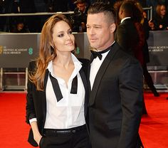 Angelina Jolie, Brad Pitt Wear Matching Tuxes on BAFTA Carpet: Pic - Us Weekly.  Will they or won't they in 2014?