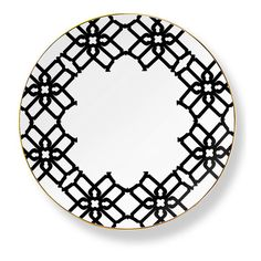Black & Gold Truman Salad Plate (12 AUD) ❤ liked on Polyvore featuring home, kitchen & dining, dinnerware, gold dinnerware, patterned dinnerware, black dinnerware, black salad plates and gold salad plates