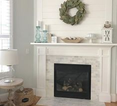 10 Remarkable ideas: Simple Fireplace Backyards off center fireplace makeover.Wooden Fireplace Hearth fireplace with tv above kitchens.Off Center Fireplace Makeover. Fireplace Tile Surround, Fireplace Update, Shiplap Fireplace, Home Fireplace, Fireplace Remodel, Fireplace Surrounds, Fireplace Design, Simple Fireplace, Farmhouse Decor