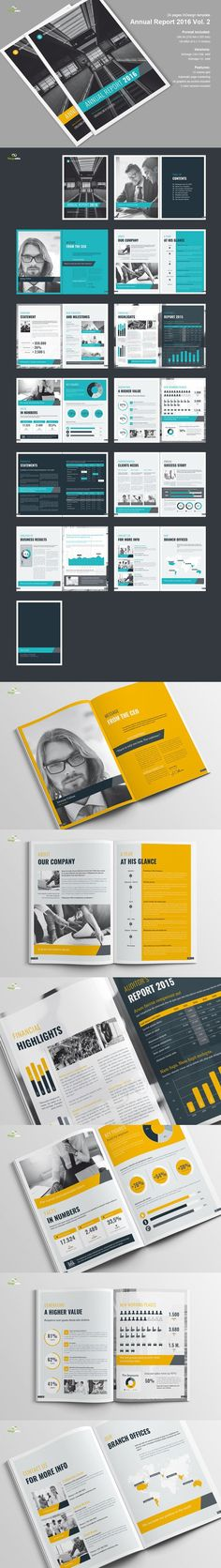 Minimal And Professional Annual Report Design Template InDesign INDD - Annual report design templates 2016