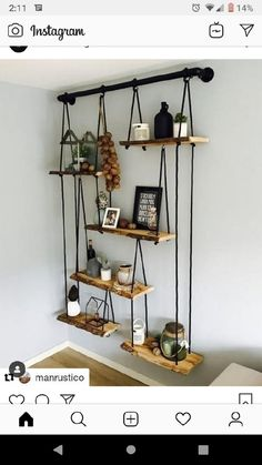 DIY Home Decor, room decor plan number 8937095780 for the truly eye-catching decor. Cheap Home Decor, Diy Home Decor, Homemade Home Decor, Home Decoration, Table Decorations, Sweet Home, Diy Hanging Shelves, Rope Shelves, Wall Shelving