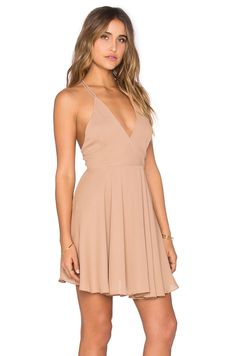 krisa Cross Back Mini Dress in Camel