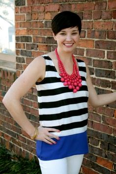 A Stripe of Blue blouse | how fun with a bright statement necklace? Love the unexpected pops of color!