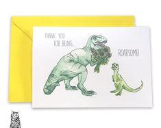 Surface Pattern Designs by TasherellaKitty on Etsy Roarsome Card - Teacher Thank You - Dinosaur - Watercolour