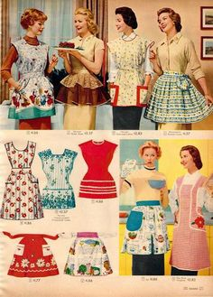 Retro recipes found in vintage ads. Madison Avenue's contribution to the dinner table, from the delicious to the suspicious. Vintage Apron Pattern, Aprons Vintage, Vintage Sewing Patterns, Apron Patterns, Retro Apron, Vintage Tablecloths, Dress Patterns, Moda Vintage, Style Vintage