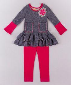 Love this Blue & Fuschia Pocket Peplum Top & Leggings - Toddler & Girls on #zulily! #zulilyfinds